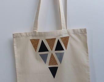 Shopping bag, tote bag, canvas bag, shoulder bag, Glitter geo print cotton shoulder bag.