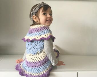 Girls crochet sweater - Mandala sweater - infant sweater- Easter sweater - circle sweater - baby sweater - toddler sweater-  - crochet shrug
