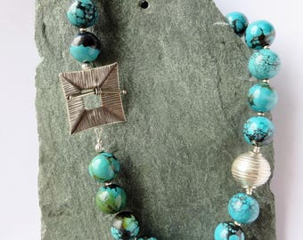 Firuze - Turquoise and Thai Silver Necklace