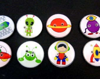 """8 Space Alien and Astronaut Buttons. 3/4"""" or 20 mm Handmade Buttons. Rockets, planet, astronaut, aliens or space monsters."""