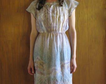 1970s BOTANICAL print mini dress, s