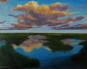 "Seascape Landscape Sunset Clouds Original Painting signed Acrylic  11""x14"""