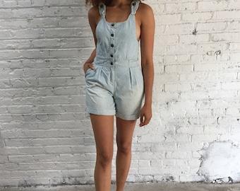 vintage pinstripe acidwash Gap shortalls / Gap kids cotton denim shorts overalls