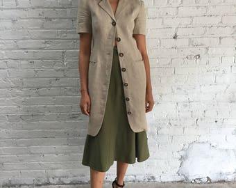 vintage natural linen dress suit / short sleeve khaki button front duster / Liz Claiborne minimalist dress