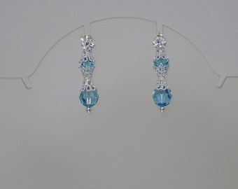 Swarovski Crystal Bridal Earrings - MADE TO ORDER in Any Color - Sterling Silver & Cubic Zirconia Posts - Convertible