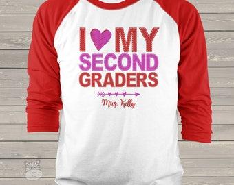 teacher shirt Valentine's day teacher shirt faux stitch heart my any grade raglan shirt for teachers VTHMSR