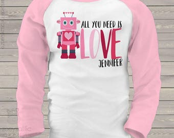 Valentine's Day robot girl personalized raglan shirt - adorable Valentine's Day shirt  snlv-035-r