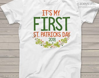 First St. Patricks Day shirt shamrock 1st St. Patricks Day personalized Tshirt or bodysuit - St. Paddy's Day festivities SNLS-022