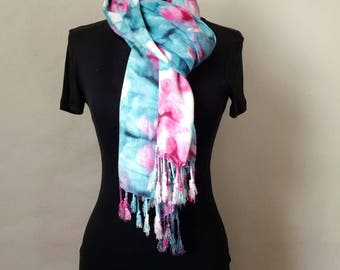 Turquoise Blue and Fuchsia Pink Handpainted Scarf with Fringe, Hand Painted Wrap, Beach Cover Up, 22x74 inches, Gift for Her, Gift For Women