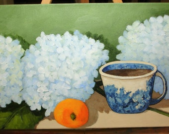 Hydrangea Painting - SIMPLE PLEASURES - Coffee Flowers and Fruit - 8x16 deep edge canvas -Original Floral Art