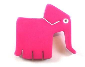 Elephant Brooch Pink Plastic Lucite Acrylic Pin Mod Fun Vintage Jewelry