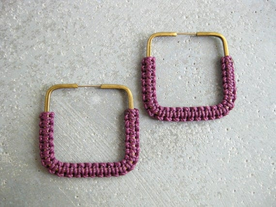 Yoruba . Fiber Hoops Square Earrings . © Design by .. raïz ..