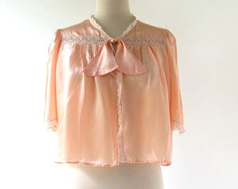 1940s Bed Jacket | 40s Top | Pink Satin Bed Jacket | Medium M