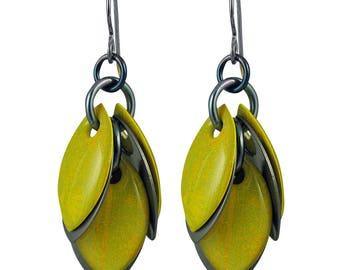 Egyptian Lotus Earrings in Golden Lime