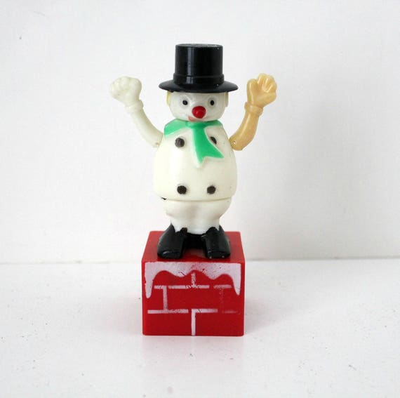 Vintage Snowman Push Puppet, Christmas Toy by Fun World 1970s