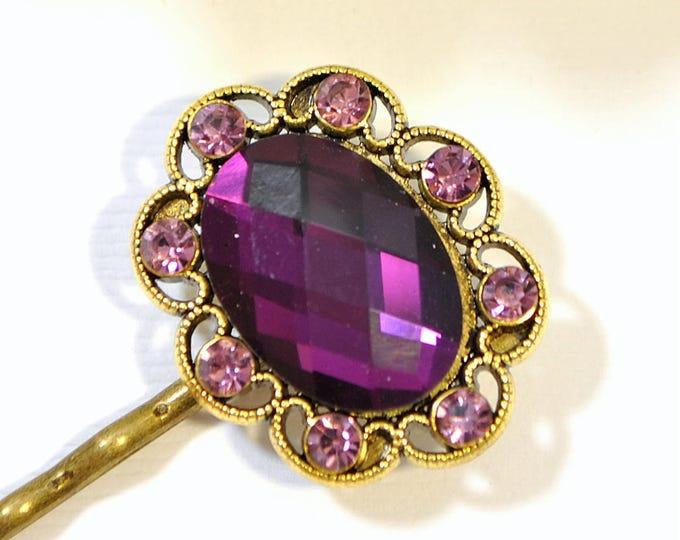 Purple Bobby Pin Handmade Hair Pin Crystal Bobbies Purple Wedding Hair Clip
