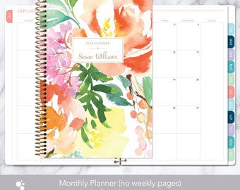 MONTHLY PLANNER notebook | 2018 2019 no weekly view | choose your start month | 12 month calendar monthly tabs | citrus watercolor floral