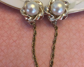 Retro Vintage Faux Pearl Sweater Cardigan Collar Guards Clips 1960s Mod jewelry