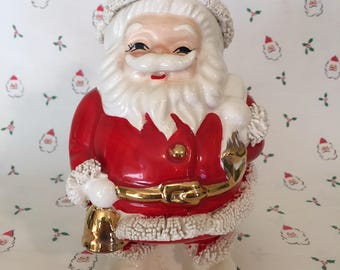 Santa and His Bag to fill— Vintage Santa Planter/Candy Dish with Bag, 1950s made in Japan