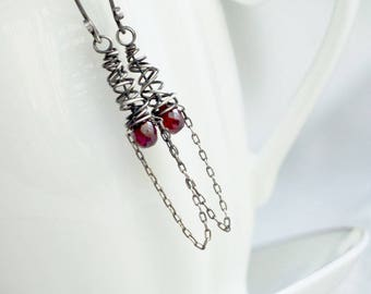 Artisan Ruby and Sterling Silver Openwork Cone Earrings