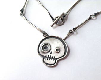 cute skull necklace, sterling silver, hand made necklace, stylized skull necklace,  day of the dead jewelry, skull jewelry, goth necklace