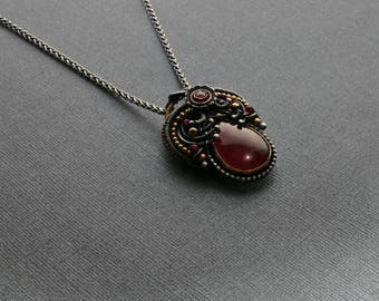 Carnelian / Pendant / necklace /handcrafted / sterling silver / fine silver / 14kt gold fill / custom /