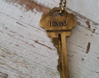 Hand Stamped Vintage Key Necklace Loved