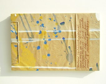 Artist's Sketchbook, Abstract with Multicolored Spatter, Stab Bound with Up Cycled Materials and Hand Painted Cover