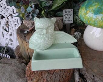 Owl business card holder office desk decor ceramic glazed- Vintage Design mint green