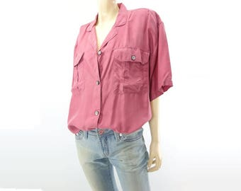 Vintage Silk Blouse Rose Pink Blouse 80s Silk Shirt Button Down Blouse Loose Fit Blouse Tie Front Blouse Short Sleeve Blouse S M L