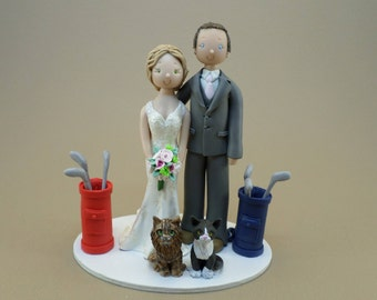 Bride & Groom Golf Fans with Cats Customized Wedding Cake Topper