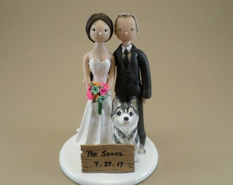 Unique Cake Toppers - Bride & Groom with a Dog Customized Wedding Cake Topper