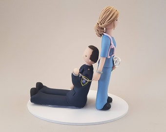 Nurse Dragging Police Officer Personalized Wedding Cake Topper