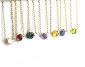 Birthstone Necklace, Raw Gemstone Necklace, Layering Necklace