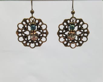 Natural Brass Medallion with Spruce Teal/Crystal Beads