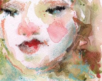 Watercolor Pastel Portrait, 5 x 7,  Woman's Face, Wall Art, Portrait Art,  Abstract Watercolor With Mat, Free Shipping, Pink Art, Female Art