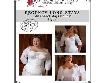 PDF DOWNLOAD Regency Long Stays size 24 Plus, Regency Corset Digital Pattern Jane Austen Empire Printable Sewing Pattern