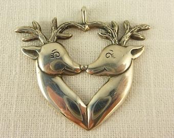 Vintage H&H Sterling Kissing Reindeer Pendant