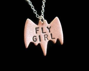 20% Off - FLY GIRL, Self Love, Statement Necklace, Batman, Bat Necklace, Bat Jewelry, Bird Necklace, Girl Boss, Gift, Jennifer Lopez, JLo