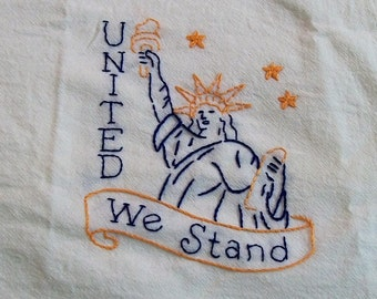 United We Stand Dish Towel with Hand Embroidery, Dish Towels, America,  Kitchen Dish Towel, United We Stand
