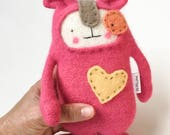Small Pink Dog Stuffed Animal  Upcycled Repurposed Wool and Angora Sweater