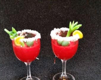 "1-3/8"" Bloody Mary Earrings with Tiny Salt Rim, Celery Stick, Olives and Lemon Wedge Garnish"