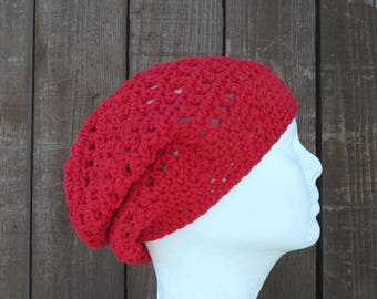 cotton slouchy hat/ rich red crochet