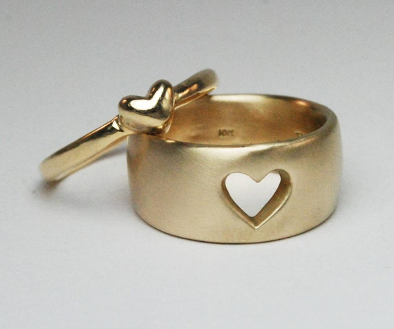 Yellow Gold Love Heart Ring Set