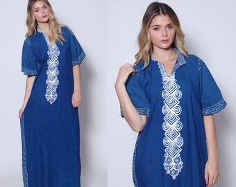Vintage 70s Blue EMBROIDERED Caftan Boho Maxi Dress 70s Hippie Dress