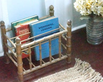 Rattan wood book holder magazine rack laptop charging station