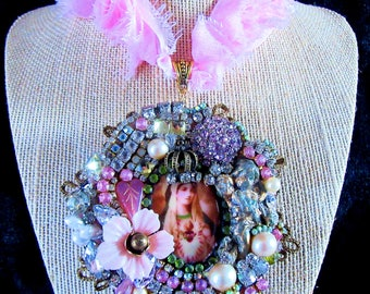 "Opulent Vintage and New Catholic Assemblage Virgin Mary Cameo ""Immaculate Heart"" Religious Handmade Assemblage Altered Art Necklace"