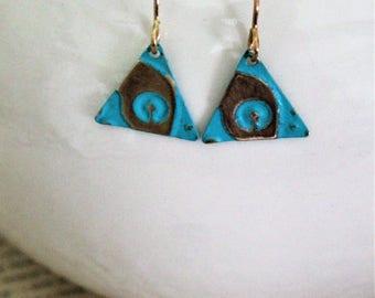 Small Petite Earrings, Vintaj Earrings, Turquoise Jewelry, Arrows, Gift Ideas, Triangles, Dainty Jewelry, Patina Jewelry, Made in Ohio