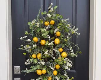 Artificial Lemon Wreath, Lemon Wreaths, Summer Front Porch Wreaths, Faux Lemon Wreath, Faux Lemon Decor, Artisan Wreaths