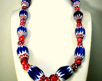 4th July Venetian Antique Chevron TRADE Beads,  Red White Cobalt Blue Glass 6 Layer beads, w Red Skunk and Red Feather Beads,  Africa Found